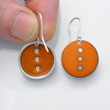 Load image into Gallery viewer, Orange Button earrings, medium