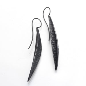 Long textured seed pod, oxidised sterling silver