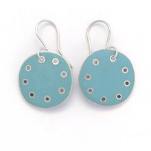 Load image into Gallery viewer, Earrings-round-blue- enamel- silver