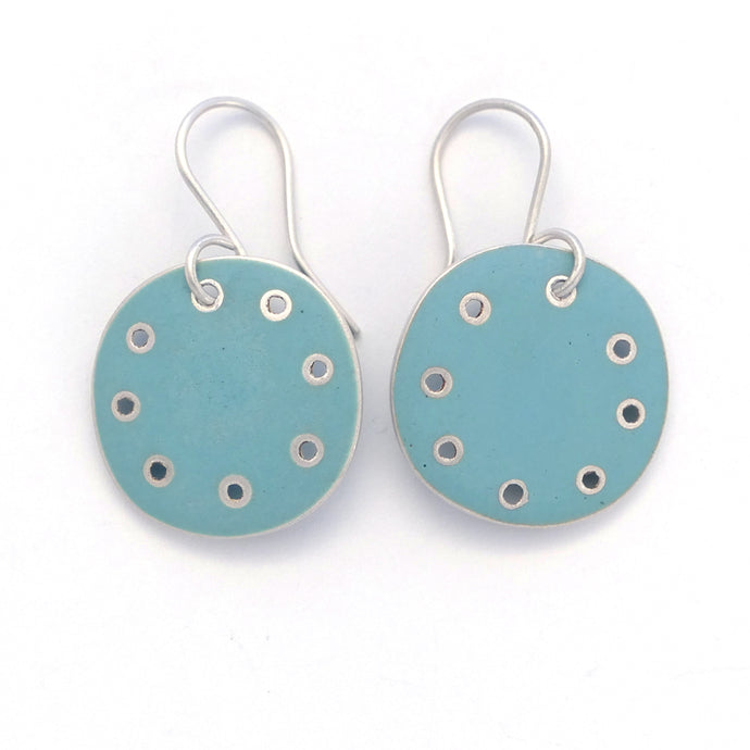 Earrings-round-blue- enamel- silver
