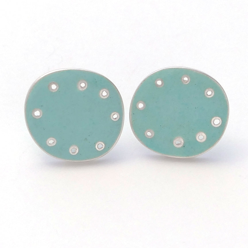 Earrings, stud for pierced ears, turquoise enamel and silver with pierced dots on perimeter