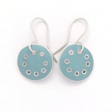 Load image into Gallery viewer, Small earrings, light-turquoise enamel in silver with pierced dots on perimeter
