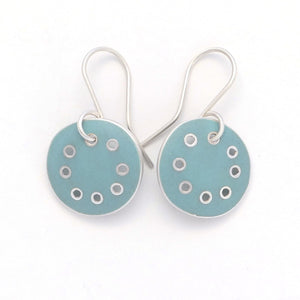 Small earrings, light-turquoise enamel in silver with pierced dots on perimeter