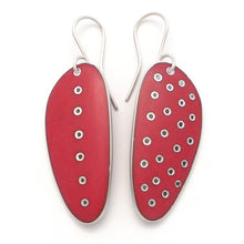 Load image into Gallery viewer, Earrings for pierced ears. Long, red enamel on pierced silver. Odd-pair, polka-dots and line of dots