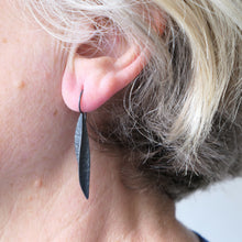 Load image into Gallery viewer, Oxidised silver textured pod earrings
