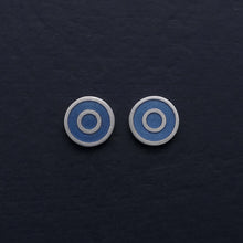 Load image into Gallery viewer, Small-flat-round-ear-studs-with grey-blue-coloured-enamel-in-the-centre