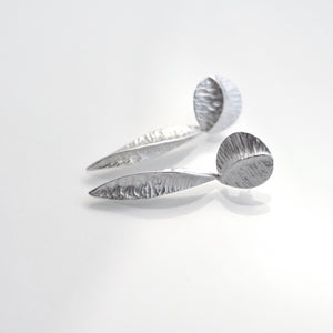 Silver textured pod earrings with stud fitting