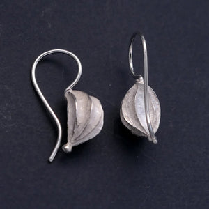 Fat Seed Pod Silver Earrings