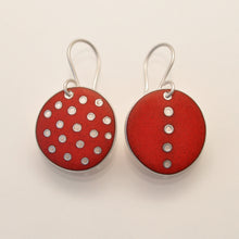 Load image into Gallery viewer, Red polka-dot earrings, odd-pair
