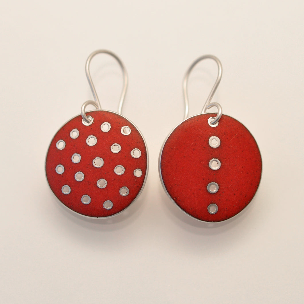 Red polka-dot earrings, odd-pair