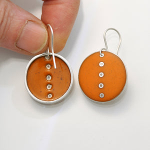 Orange 'Button' Earrings, large and round