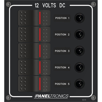 Paneltronics Waterproof Panel - DC 5-Position Illuminated Rocker Switch & Circuit Breaker [9960018B]