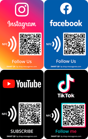 Social Media Stickers with QR Code and NFC