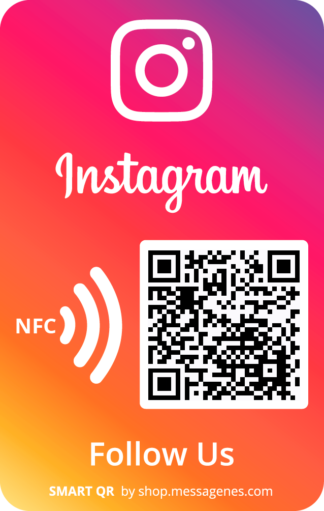 Follow us on Instagram sticker with QR & NFC