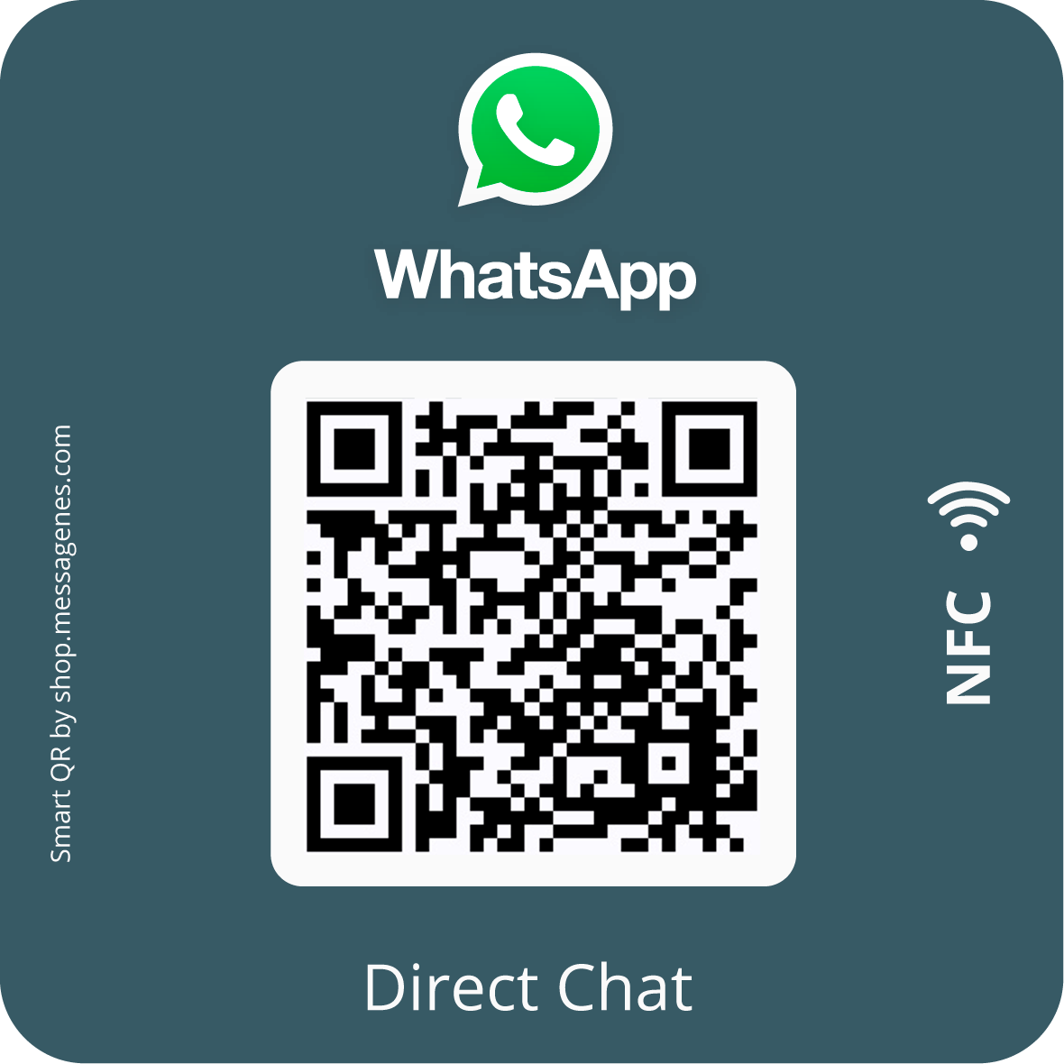 Whatsapp Direct Message Sticker with QR & NFC - square gray version