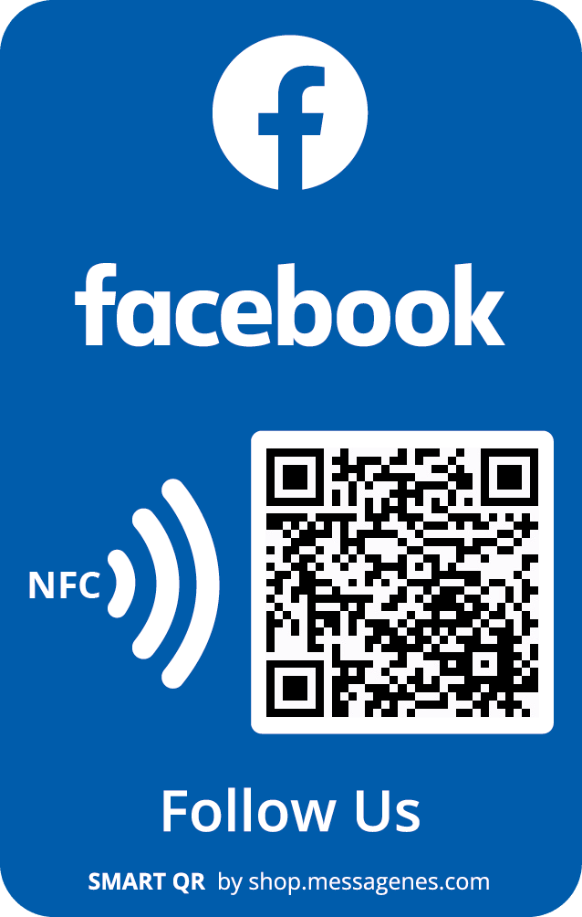 Follow us on Facebook sticker with QR & NFC