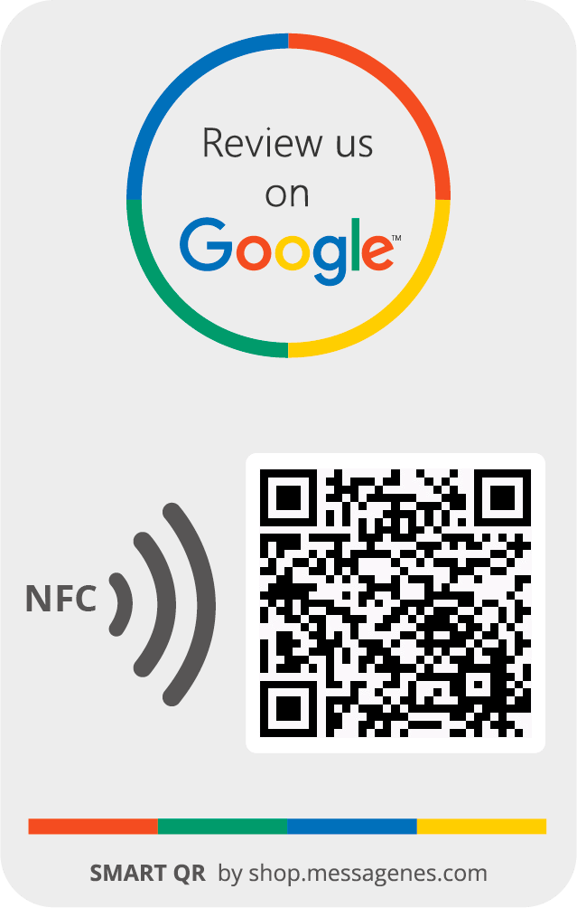 Google Review us sticker with QR & NFC
