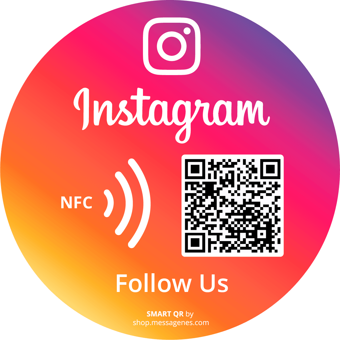 Follow us on Round Instagram sticker with QR & NFC