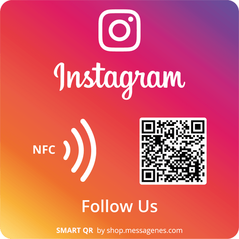 Follow us on Square Instagram sticker with QR & NFC