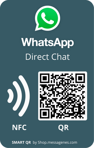 Whatsapp Direct Message Sticker with QR & NFC - rectangular gray version