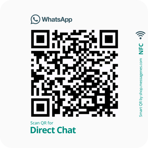 Whatsapp Direct Message Sticker with QR & NFC - square white version