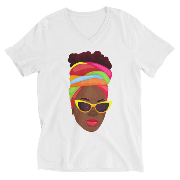 Black is QUEEN Unisex Short Sleeve V-Neck T-Shirt
