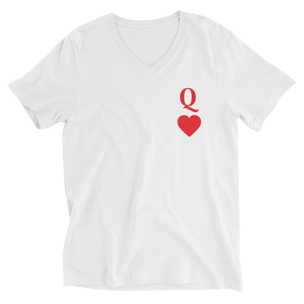 Queen of Hearts Unisex Short Sleeve V-Neck T-Shirt