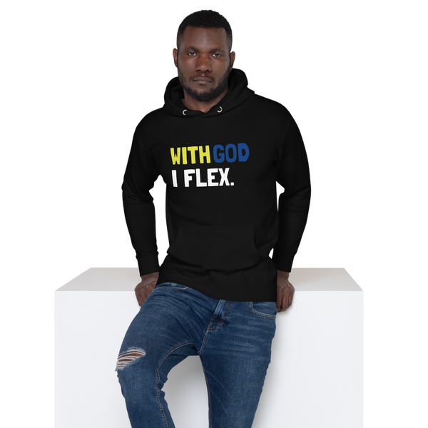 With God I Flex (Yellow/Blue) Unisex Hoodie