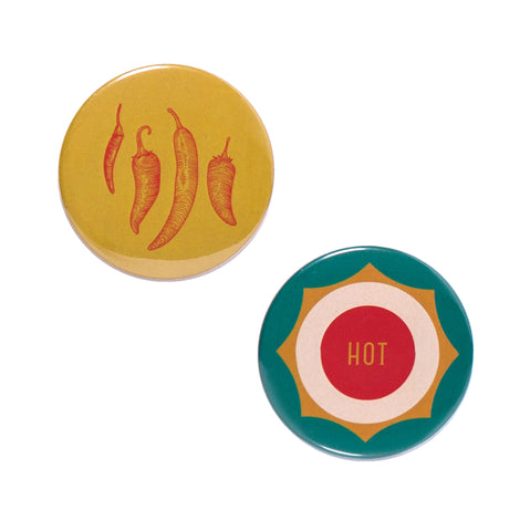 Hot Pepper Button Mirror Set by Odeme