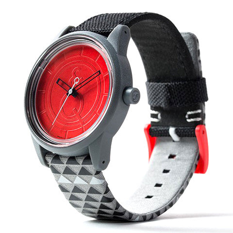 SmileSolar Watch #14 - Black/Grey/Red Pattern