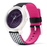SmileSolar Watch #15 - Black/Pink/Purple Pattern