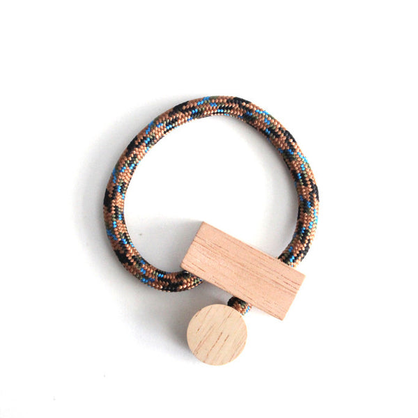 A.A.P Wood/Cord Bracelet in Brown