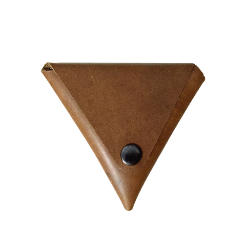 Leather Coin Pouch in Brown by Okimoto | ITALIC & BOLD