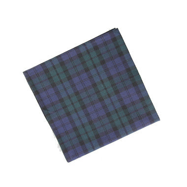 Green/Navy Plaid Pocket Square by bowtie&cotton