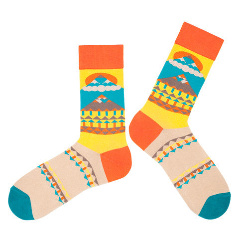 'Sun and Mountain' Orange Socks by KIKK