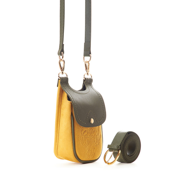 MISKA MOBILE BAG - MUSTARD x PINE GREEN