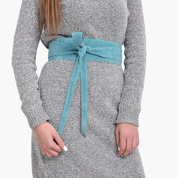 WRAP BELT - TURQUOISE SUEDE