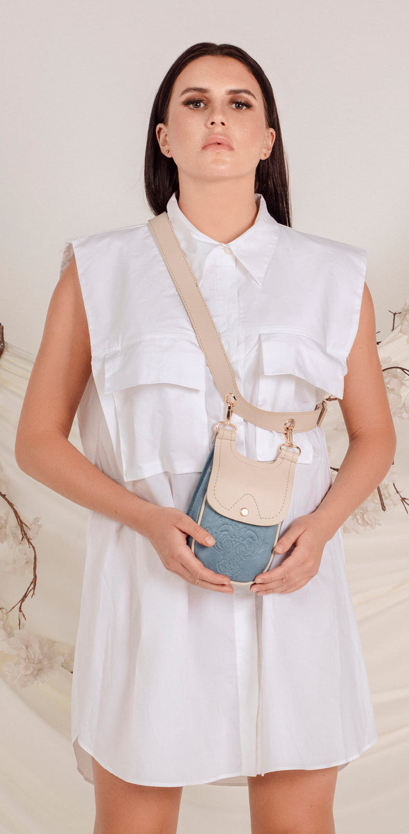 MISKA MOBILE BAG - BABY BLUE x BEIGE