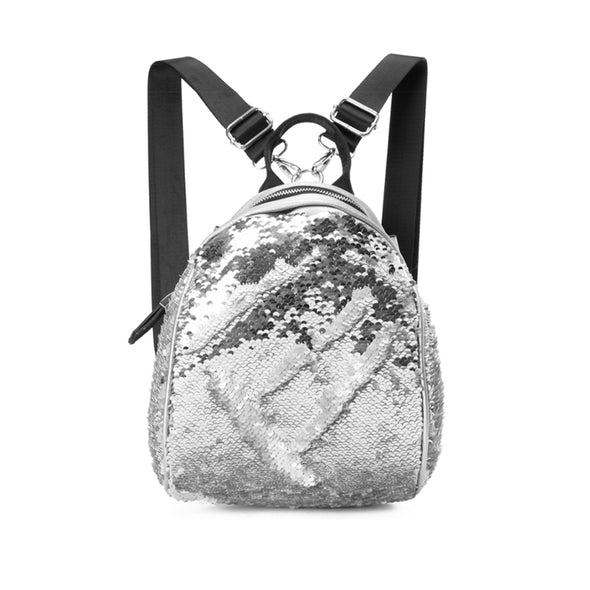 GLITZY BACKPACK - SILVER x WHITE