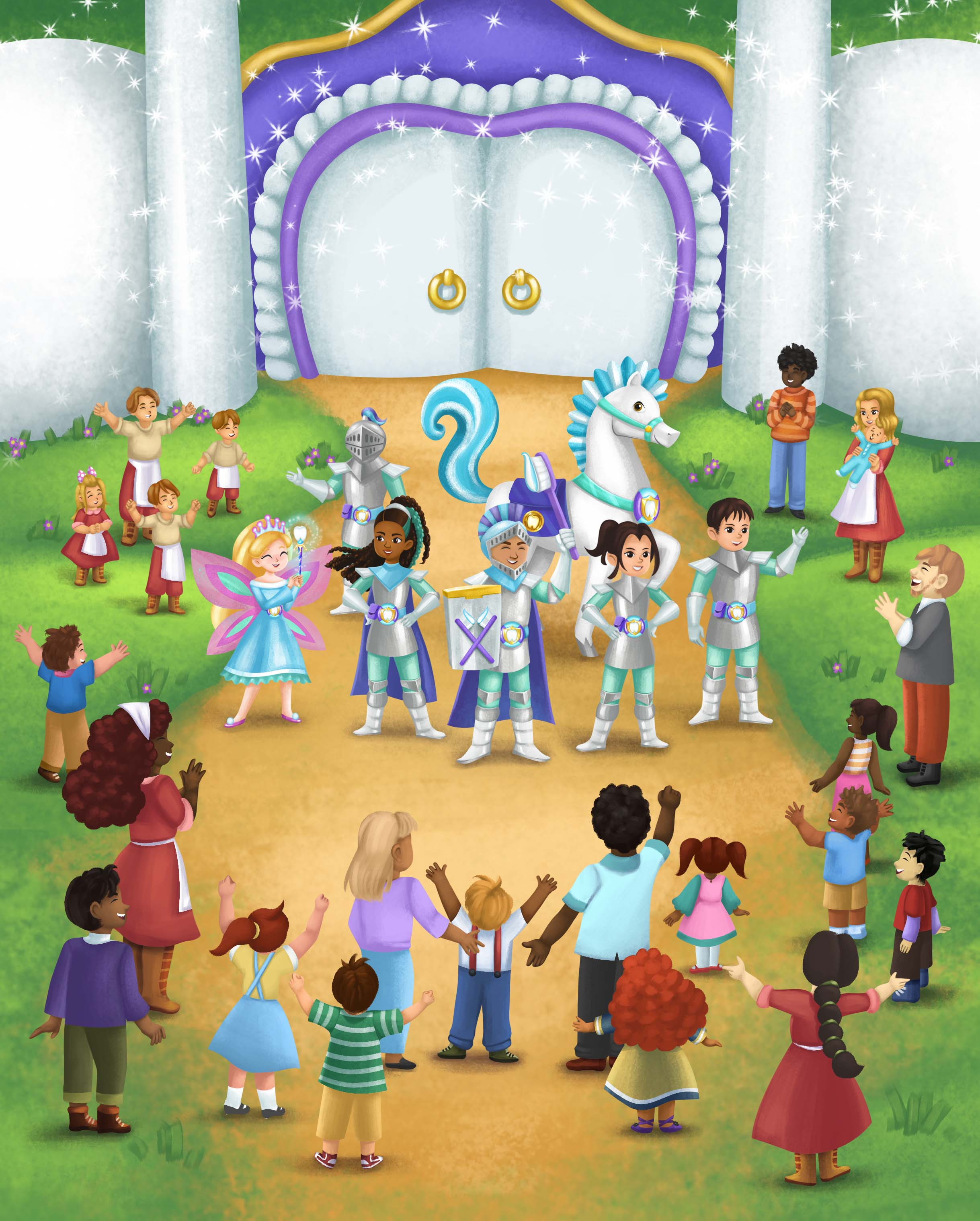 Hero scene from the Adventures of Brushalot storybook, featuring the tooth Fairy, General Floss, Sir Brushalot, Incisor, and the Knights of Floss as well as villagers of all ages from Pearly White City.