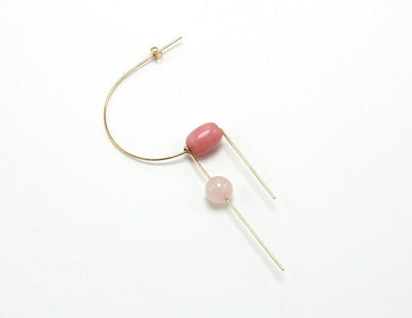 CIRCA EARRING / ROSE QUARTZ + RHODO