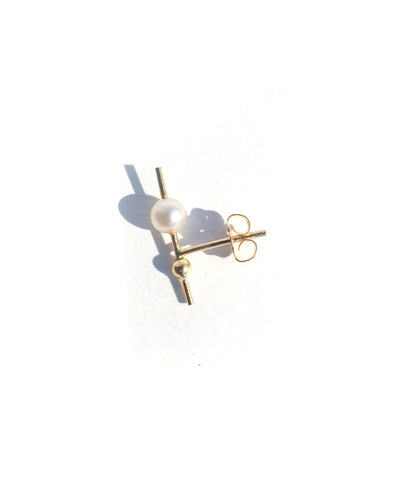 ORION DOUBLE STUD / PEARL + GOLD