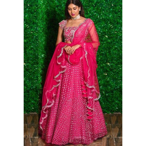 Latest Pink Embroidery Work Lehenga Choli