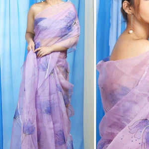 Stylish Saree With Organza Digital Print And Blouse