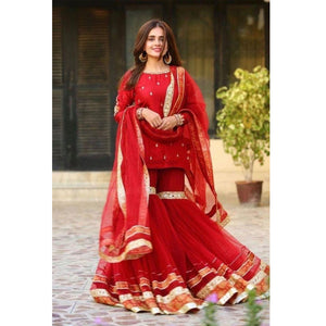 Bollywood Style Red Color Sharara Suit
