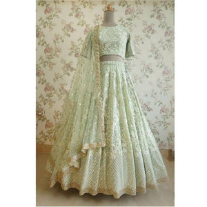 Stylish Designer Light Pista Soft Net Lehenga Choli For Girls
