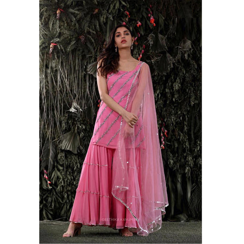 Bollywood Style Baby Pink Sharara Suit
