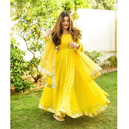 Bollywood Style  Yellow Color Sequence Work Long Gown For Girl