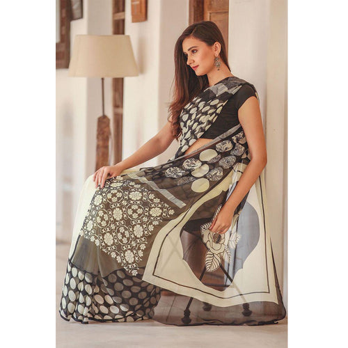 Printed Black & White Saree With Banglory Satin Blouse