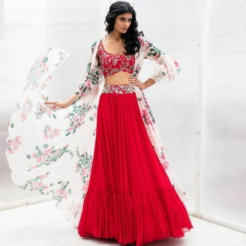 Indo Western Red  Party Wear Lehenga With Digital Print Jacket